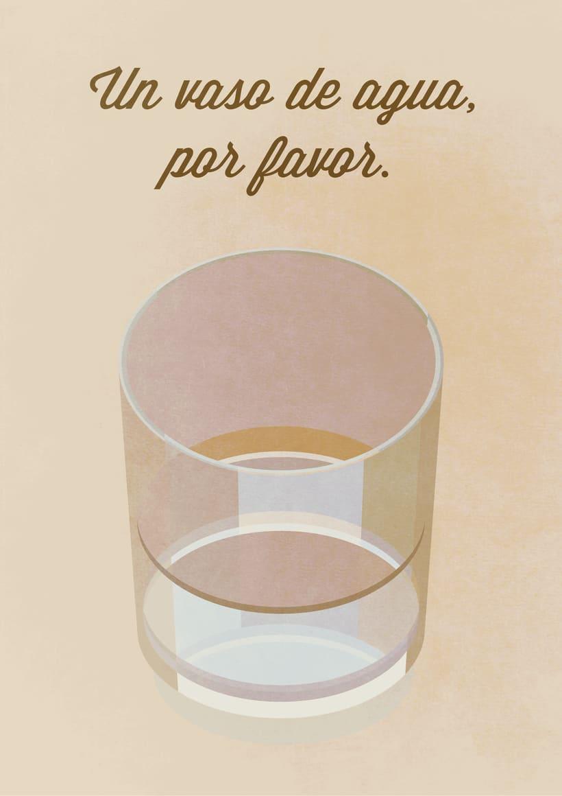 "Cartel ""Un vaso de agua"" 0"
