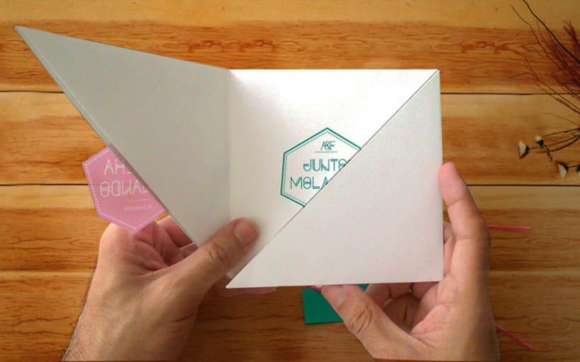 Invitación de Boda moderna y geométrica  3