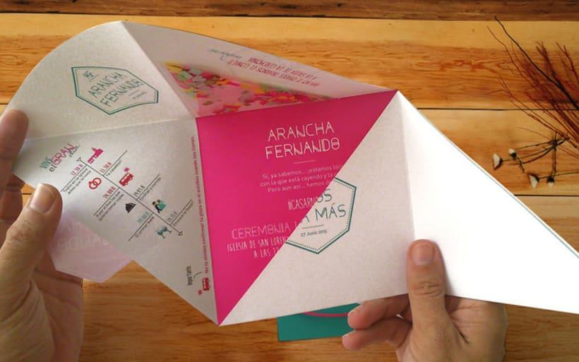 Invitación de Boda moderna y geométrica  5