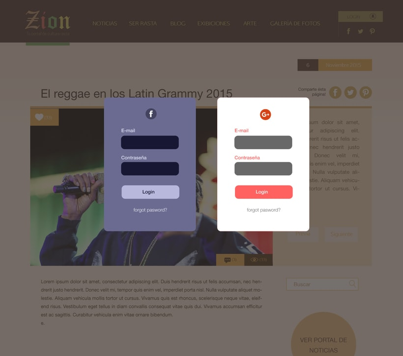 Propuesta de Interface Web / ¨ZION¨ 3
