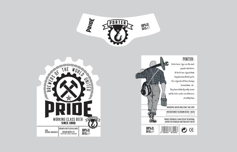 Logotipo, etiquedado y packaging de Cerveza Pride 9