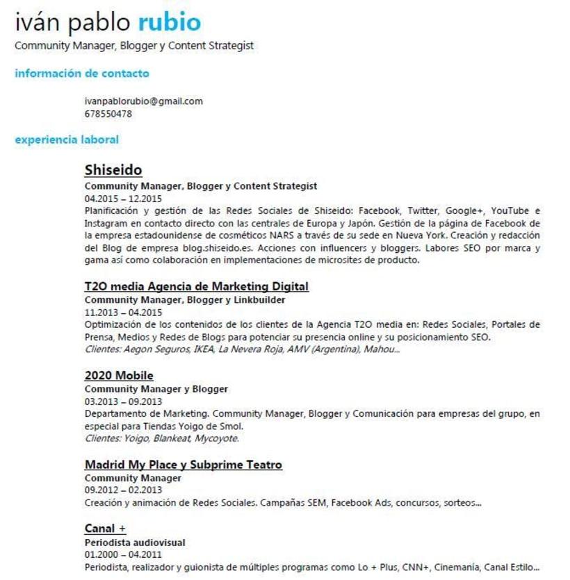 Ivan Pablo Rubio Curriculum Vitae Domestika