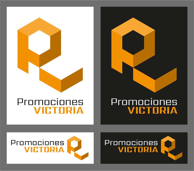 Promociones Victoria, logotipo para una empresa de construcción, reformas y otras cosas. Forma cúbica imitando un edificio y color naranja ladrillo acorde a la temática. -1