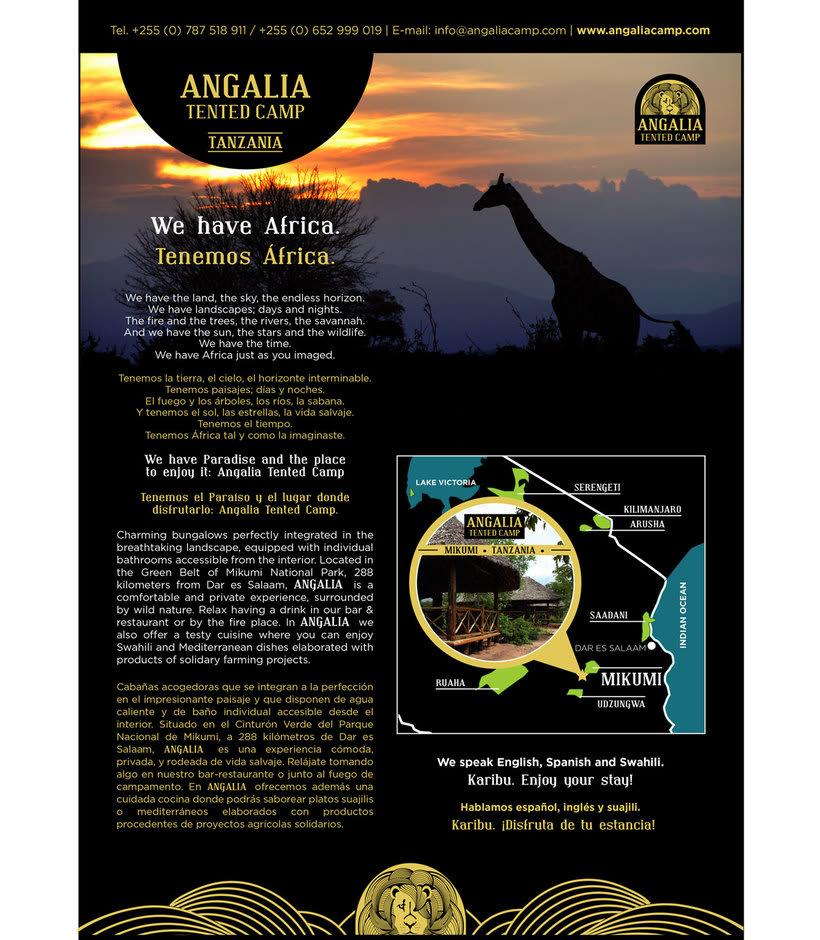ANGALIA, hotel en Tanzania. Creación de la imagen para el hotel y diferentes aplicaciones. 0