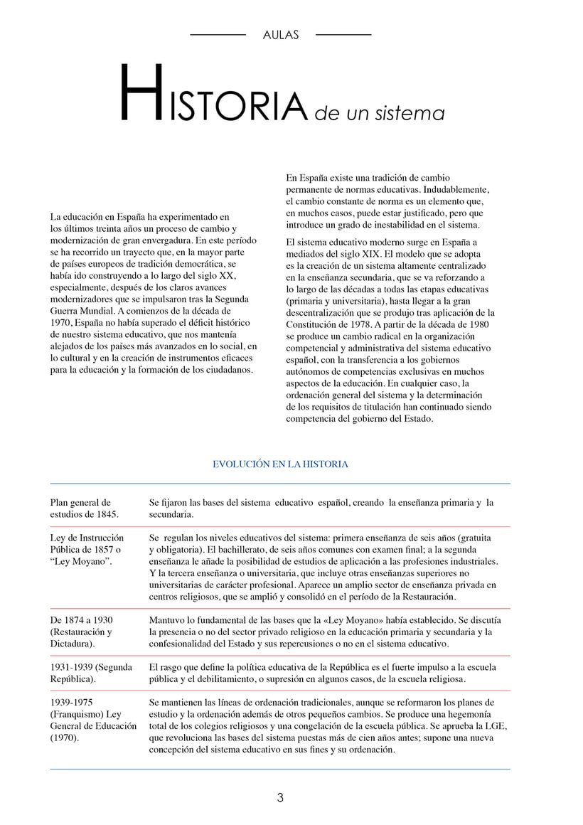 Editorial design of an information booklet about the Spanish education system. 1