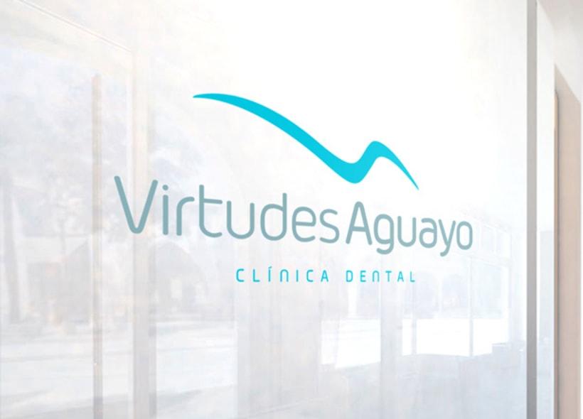 """Diseño de Logotipo para Virtudes Aguayo, una clínica dental granadina: el icono es una abstracción de la """"VA"""", aprovechando que las iniciales tienen casi la misma forma pero en sentido contrario. El trazo representa además el perfil de un sillón dental. -1"""