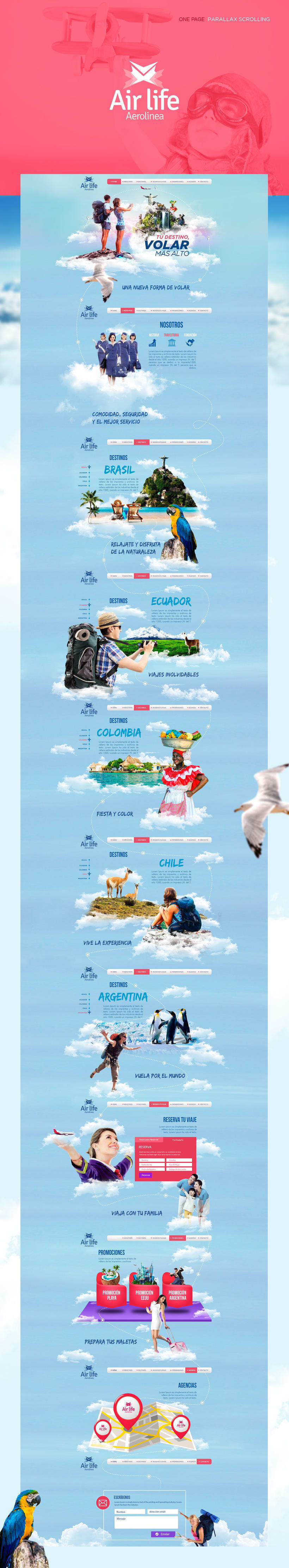 Diseño Web Parallax  Air Life - Práctica Personal -1