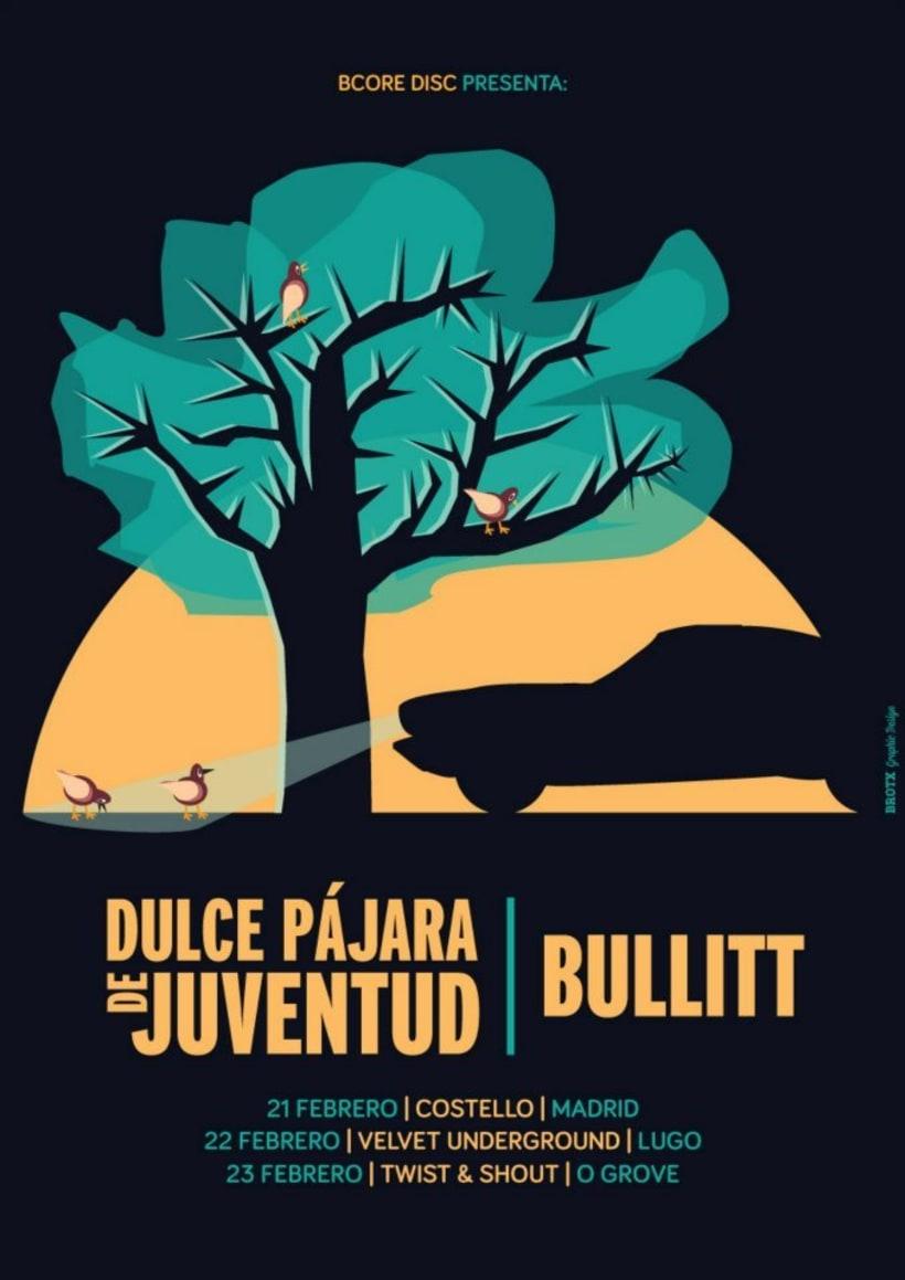 Cartel DULCE PÁJARA DE JUVENTUD + BULLITT -1