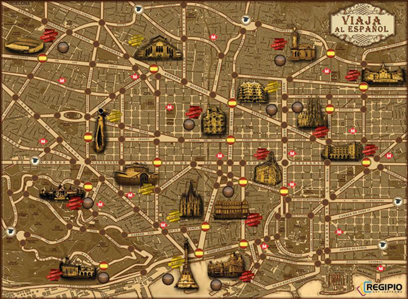 """PAKAGING:  """"Travel to Spanish"""" Regipio`s Desk Game  3"""