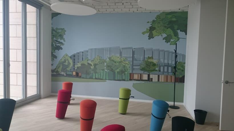 Ilustración para sala de reuniones en AstraZenaca 2