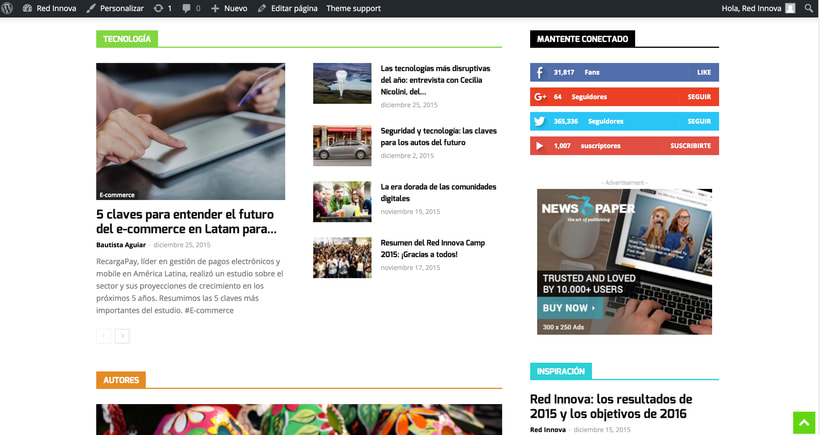 Wordpress para portal de noticias de tecnologia  1
