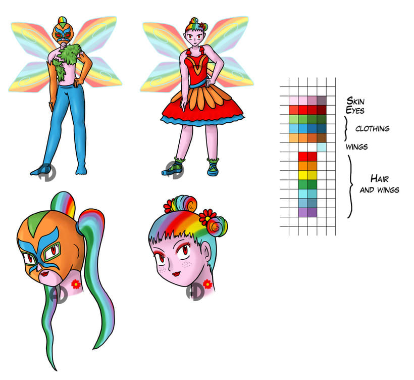 Sweety Zinnias character design 8
