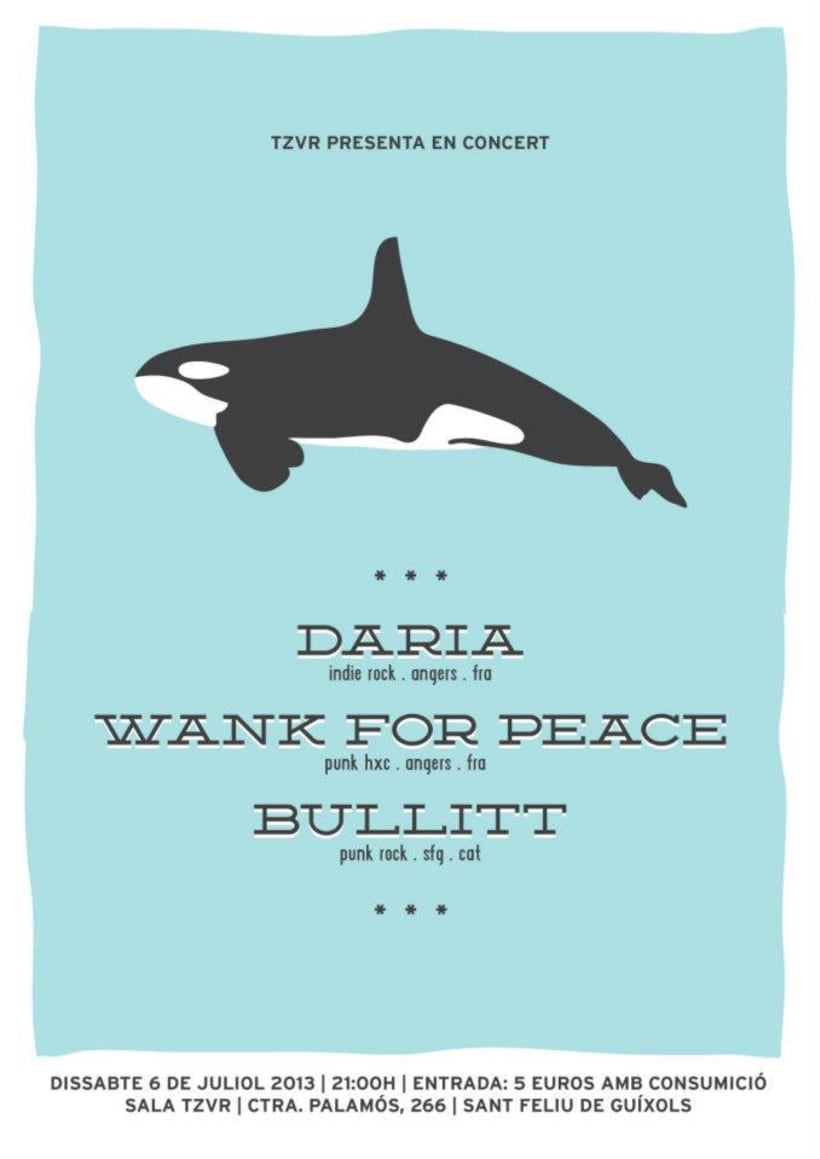 Cartel BULLITT + DARIA + WANK FOR PEACE -1
