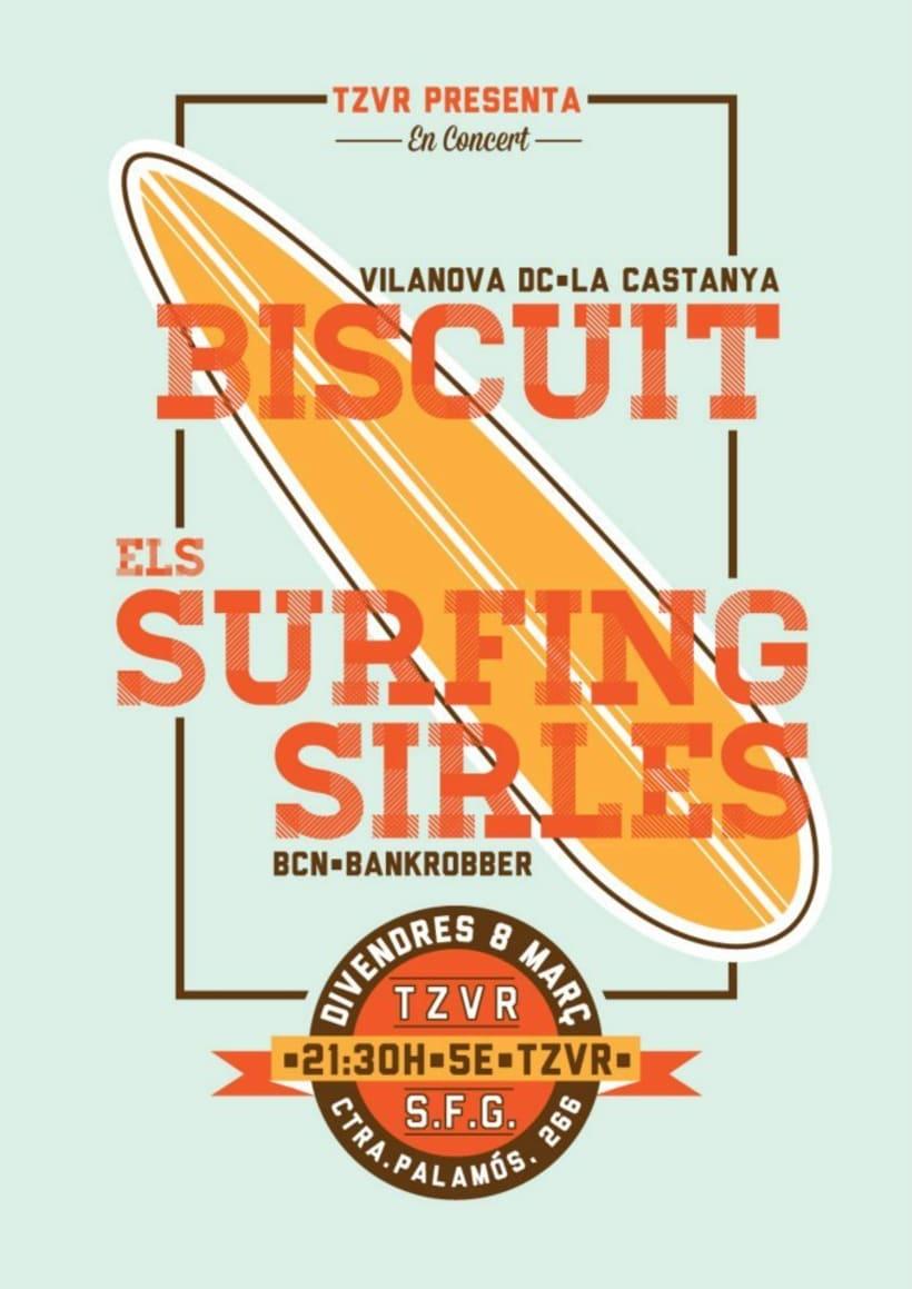 Cartel BISCUIT + ELS SURFING SIRLES -1