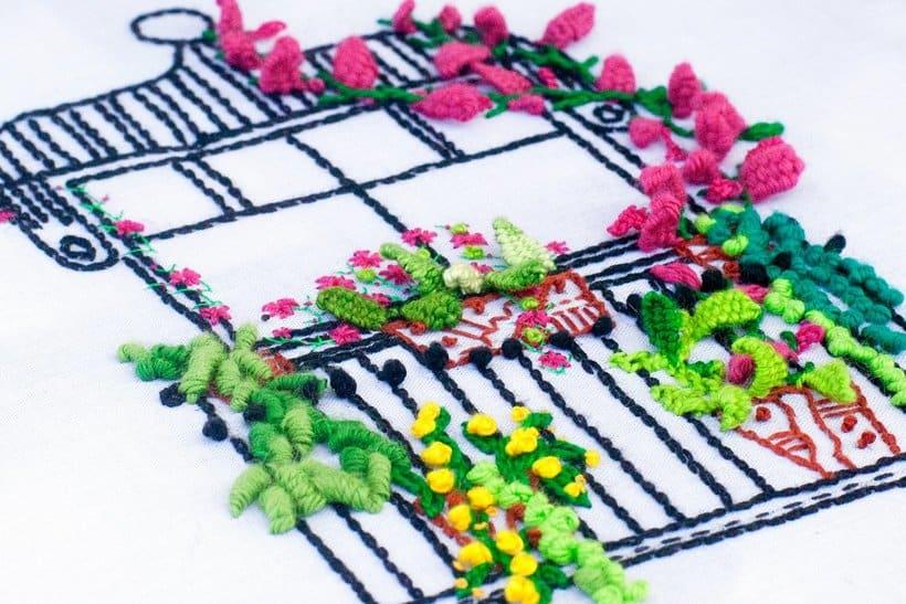 Bordando un balcón para Revista Kireei Cosas Bellas 3