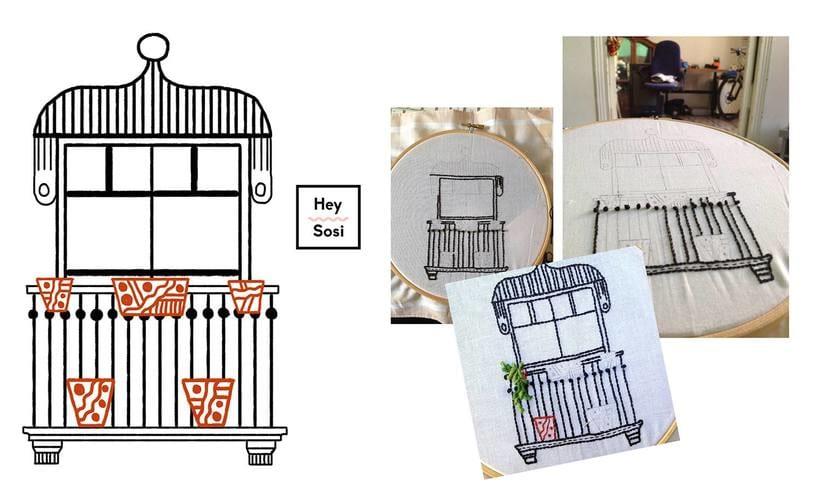 Bordando un balcón para Revista Kireei Cosas Bellas 4