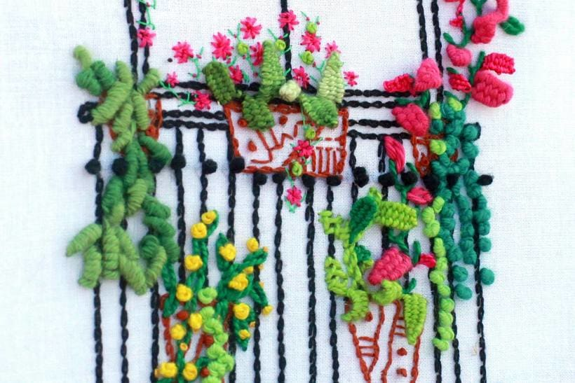 Bordando un balcón para Revista Kireei Cosas Bellas 15