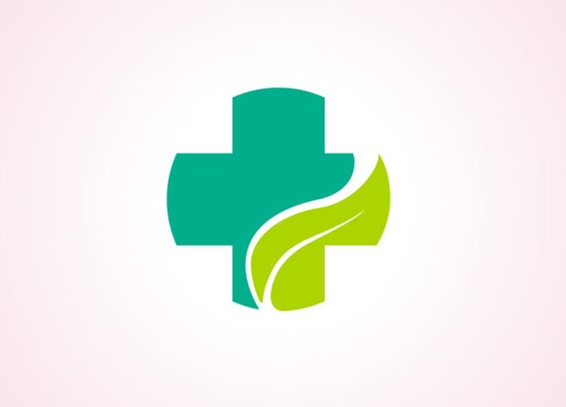 Diseño de logotipo para una farmacia ubicada en Lanzarote. El logo definitivo integra la imagen de una hoja dentro de la silueta de una cruz. -1