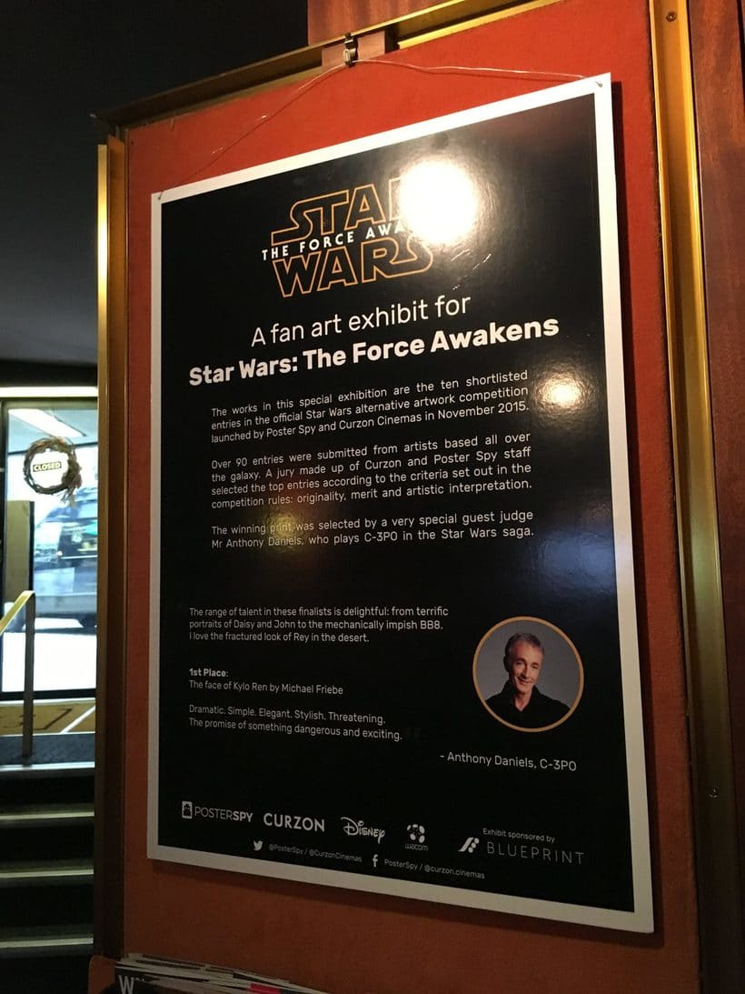 "Poster alternativo para la exposición ""Star Wars The Force Awakens Exhibit"" en los Cines Curzon Mayfair en Londres 3"