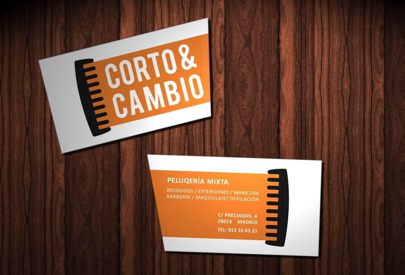 """Propuesta diseño de identidad peluquería ficticia """"Corto y Cambio"""" 0"""