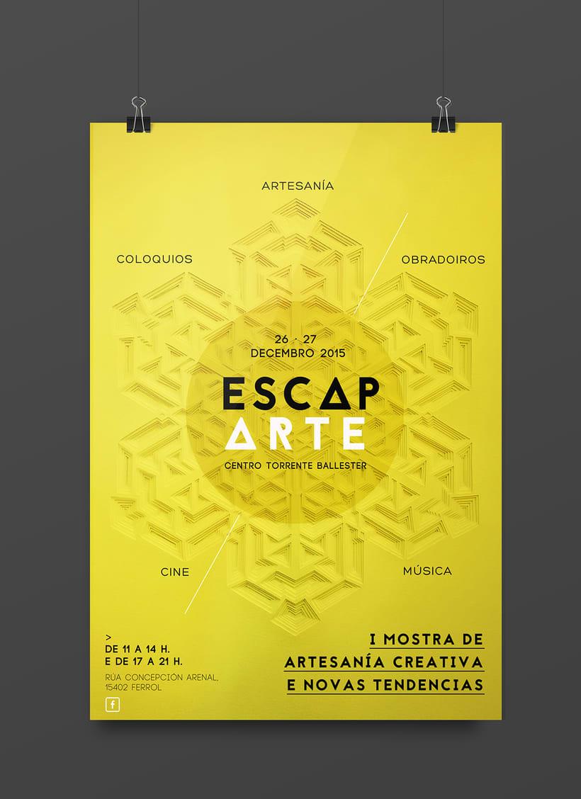 """Cartel y flyer para Escaparte """"I mostra de artesanía creativa e novas tendencias""""  -1"""