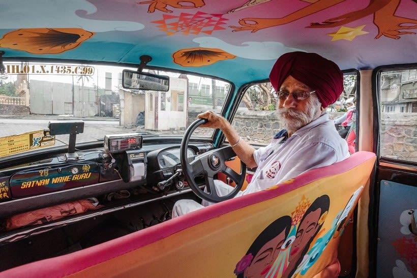 Transportan el diseño a través de taxis en Mumbai  3
