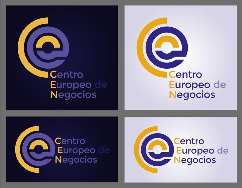 CEN, logotipo para una empresa dedicada a la formación, se aprovechan los colores de la bandera europea y la forma de anillo -1