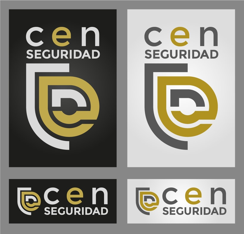 CEN Seguridad, logotipo para una empresa dedicada a dar cursos de seguridad, aprovechando el logo de CEN, le doy forma de escudo y color acero protegiendo el oro -1