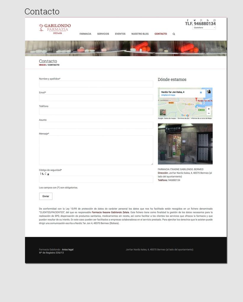 Diseño web: Farmacia Gabilondo 4