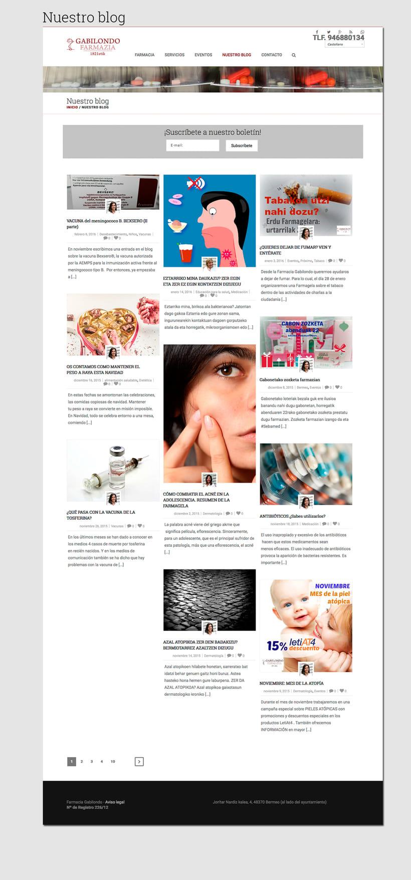 Diseño web: Farmacia Gabilondo 2