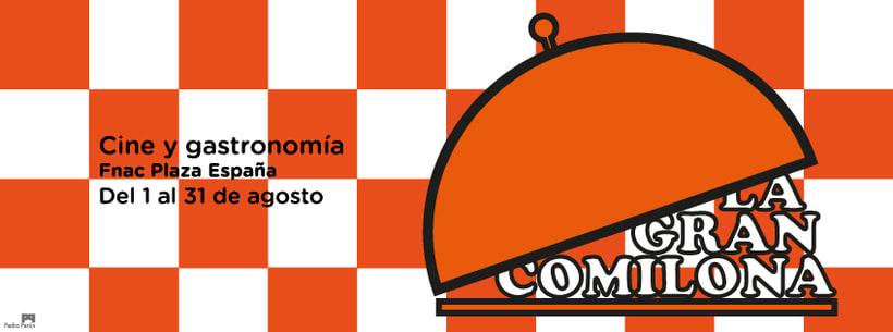 Cartel anunciador de ciclo de cine y comida para la FNAC de Zaragoza 1