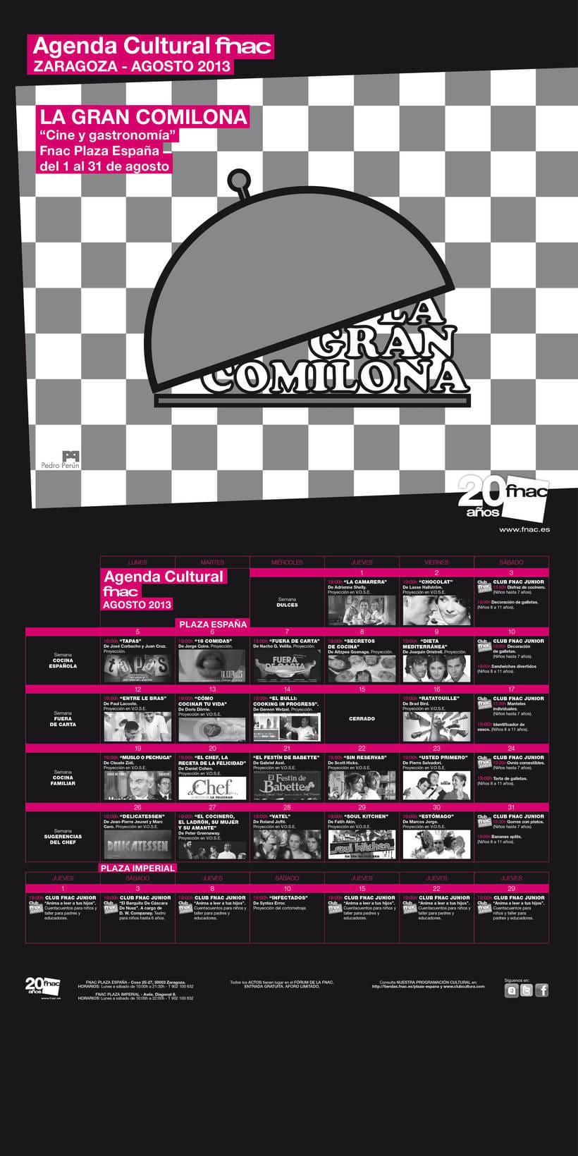 Cartel anunciador de ciclo de cine y comida para la FNAC de Zaragoza 2