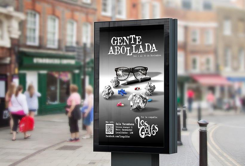 """Cartel publicitario Obra de Teatro """"Gente Abollada"""" -1"""