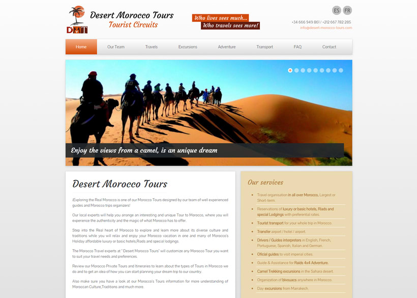 """Diseño Web """"Desert Morocco Tours"""" -1"""