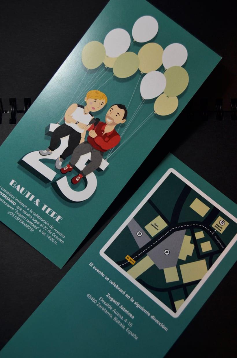 Invitaciones 25 Aniversario - Bauti y Tere -1