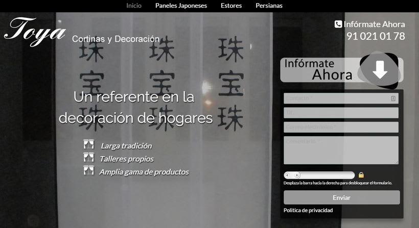 Landing page TOYA: cortinas y decoración 0