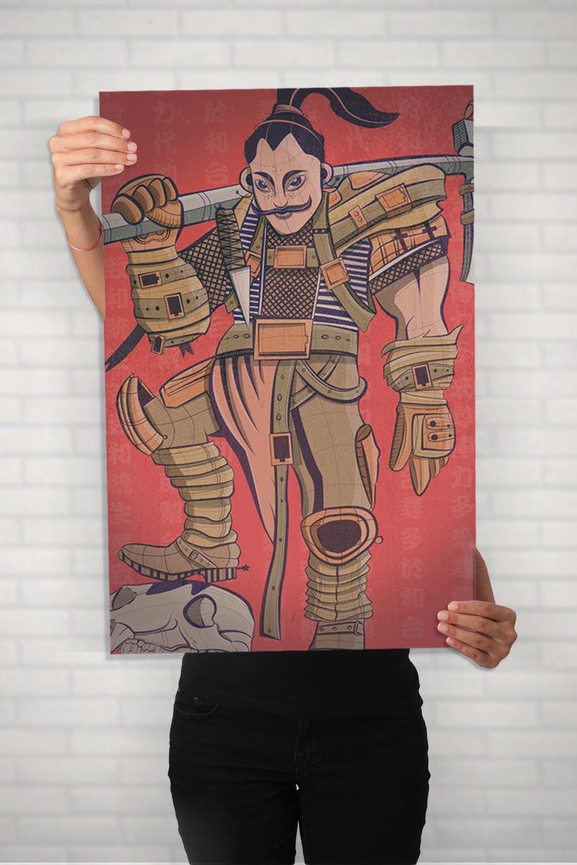 Ilustración vectores samurai 3