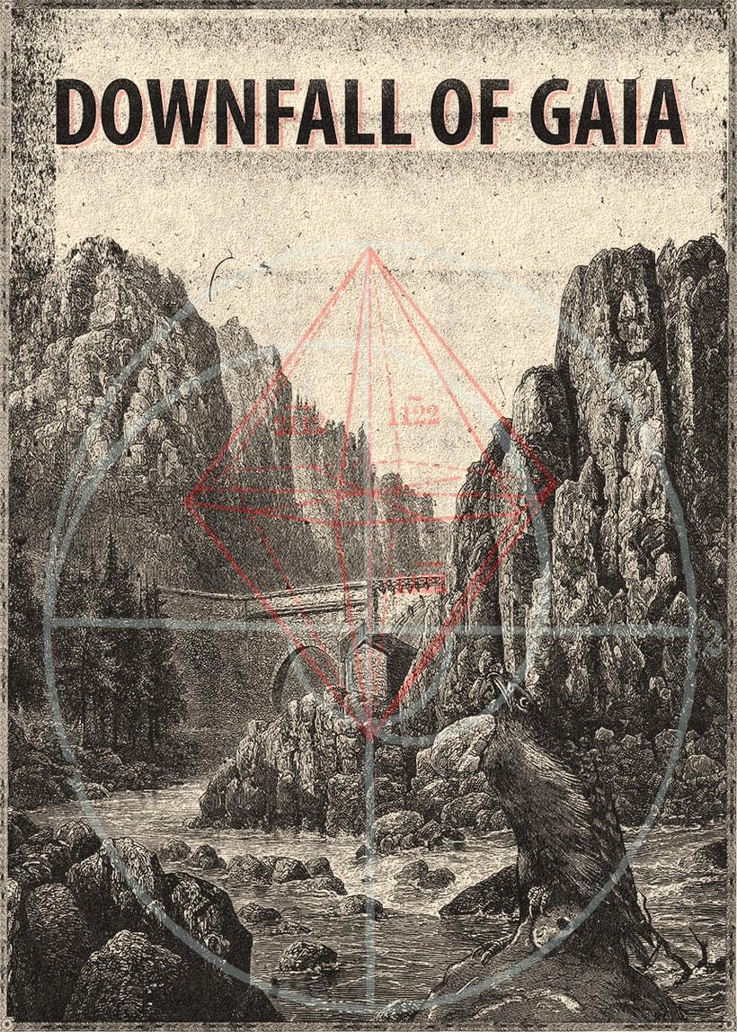 """Cartel ficticio realizado para la banda """"Downfall of Gaia"""" siguiendo los pasos del maestro X.Forné.  -1"""