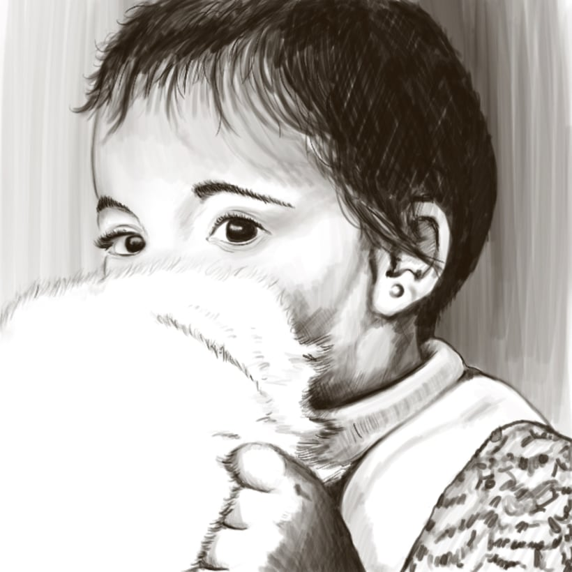 """Ilustración """"Niña con peluche"""" -1"""