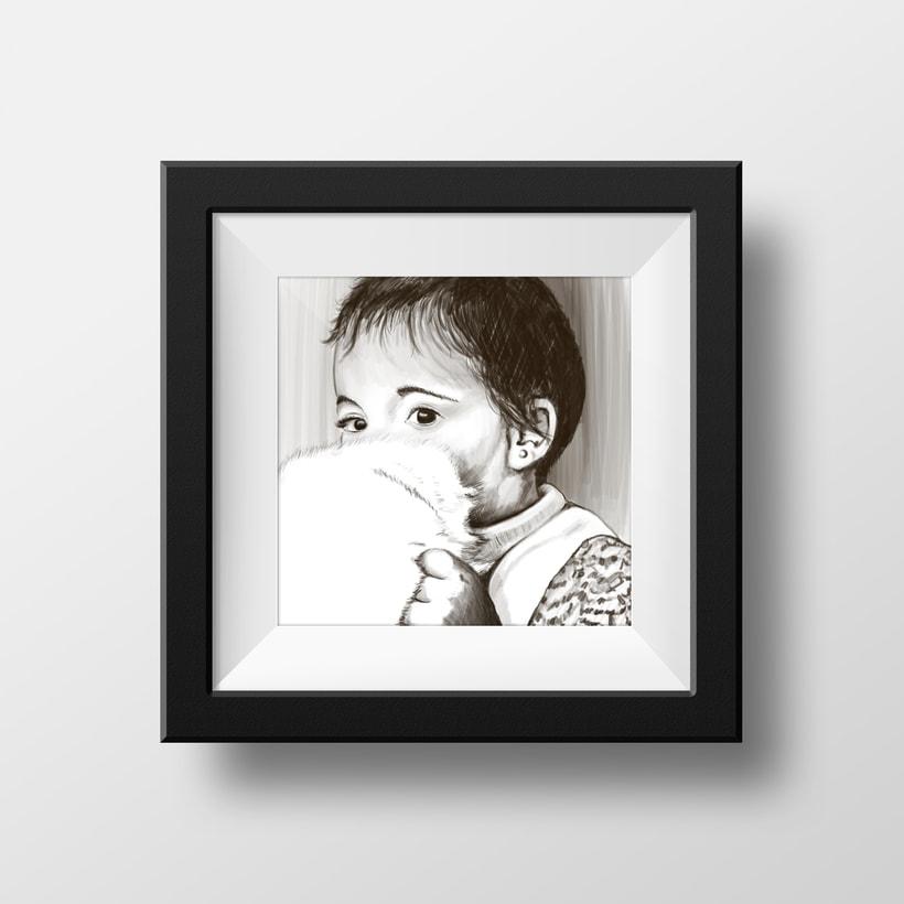 """Ilustración """"Niña con peluche"""" 0"""