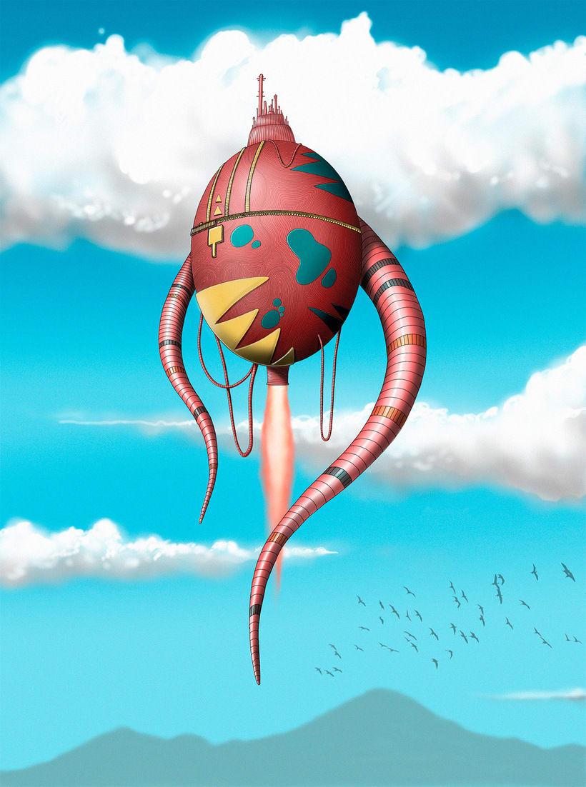 """Ilustración """"Máquina voladora"""" 1"""