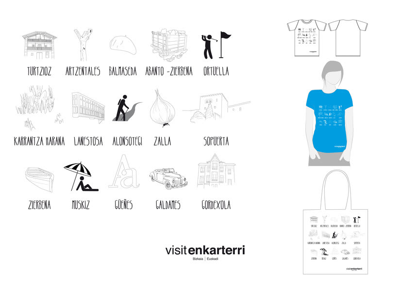 Design of  t-shirts and fabric bags for Enkartur (Tourist promotion of  Las Encartaciones, Bizkaia) 4
