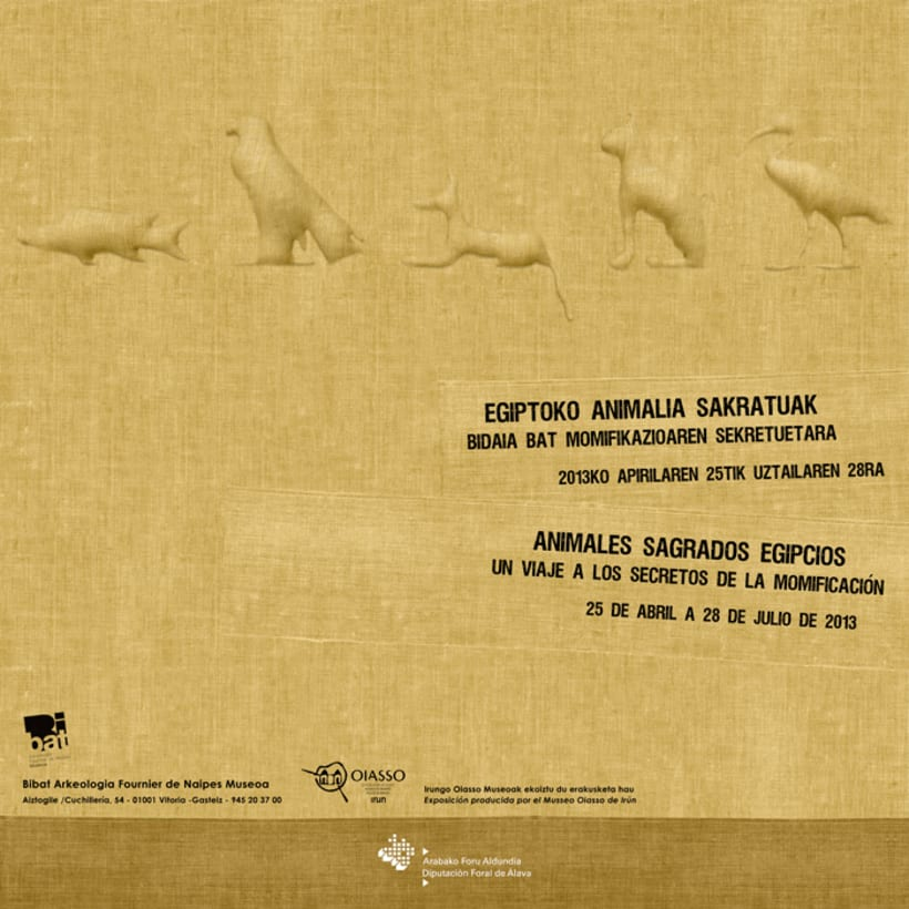 "Design of poster and flyer exhibition ""Animales sagrados egipcios"" about mummified animals. -1"