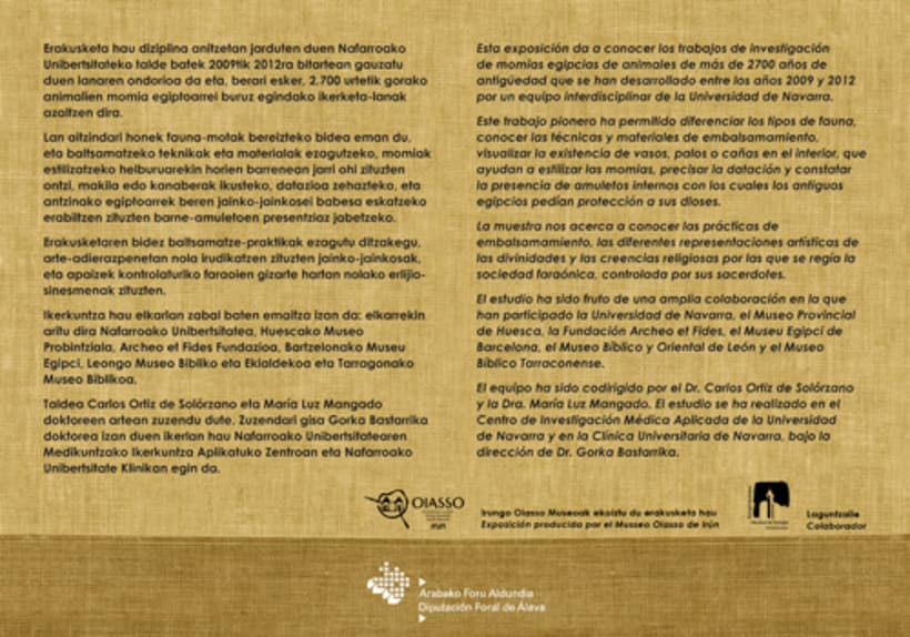 "Design of poster and flyer exhibition ""Animales sagrados egipcios"" about mummified animals. 1"