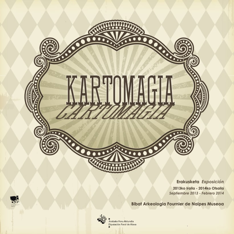 """Design exhibition display, poster and brochure for the playcards exhibition """"Cartomagia"""" 0"""