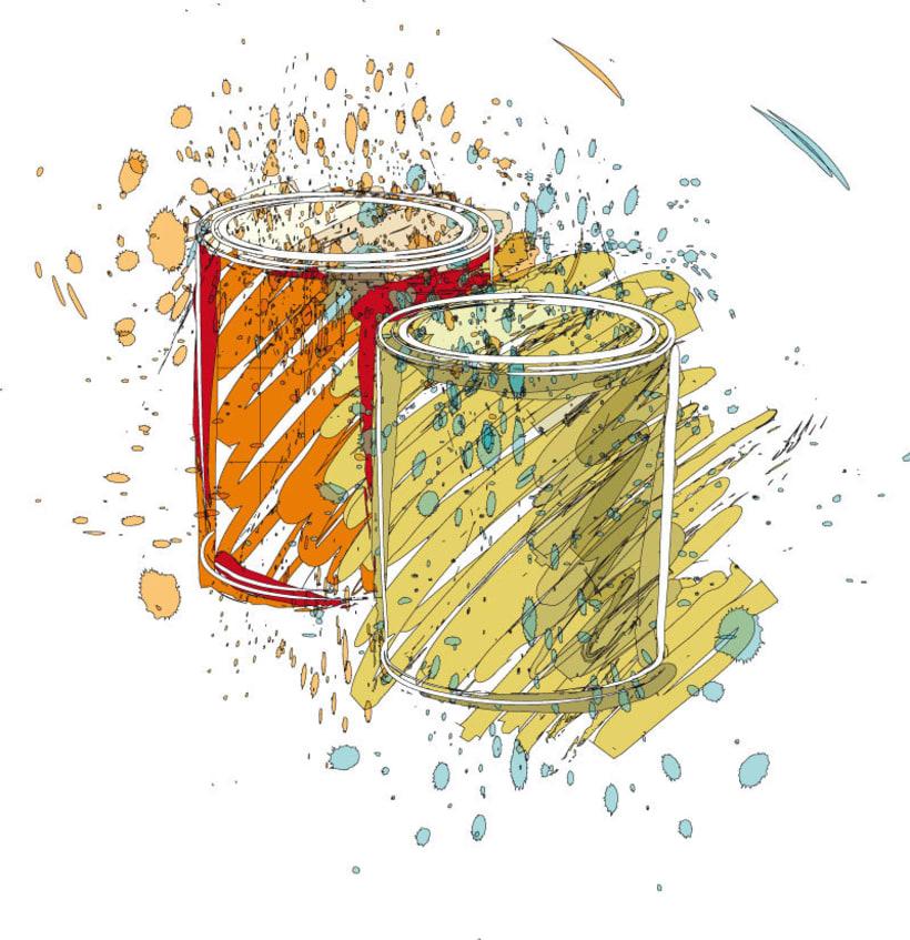 Ilustraciones para catálogo de barnices, pinturas, disolventes y adhesivos 6