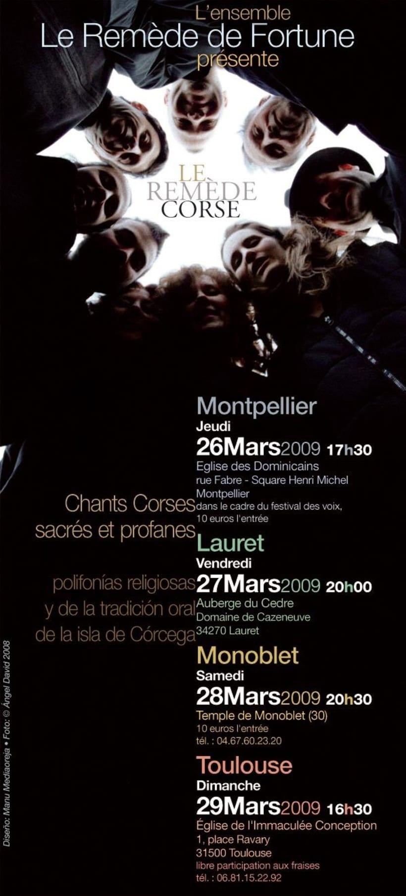 Cartel grupo vocal Le Remède de Fortune, conciertos de polifonía corsa -1