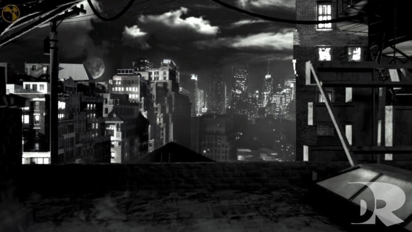 Matte Painting 3D - Nuke - Dark City  -1