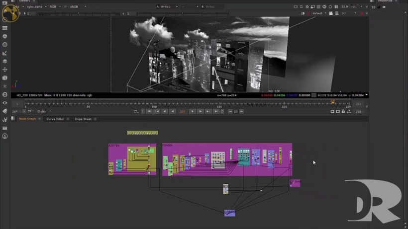 Matte Painting 3D - Nuke - Dark City  1