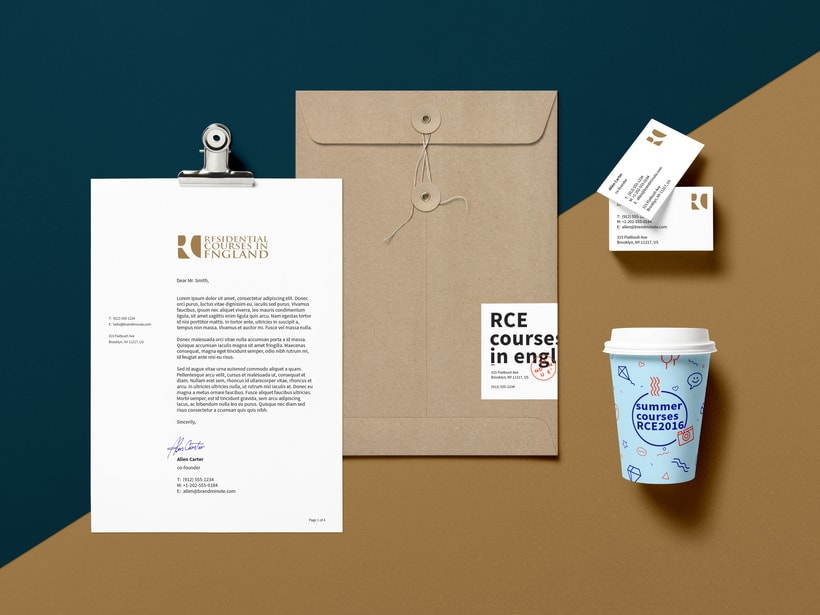 Branding RCE Residential Courses in England Identity · Design · Web 2